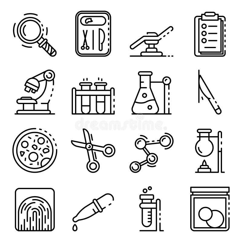 De gerechtelijke geplaatste laboratoriumpictogrammen, schetsen stijl vector illustratie