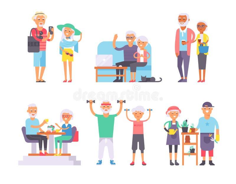 De geriatrische gepensioneerden van zorggepensioneerden en gelukkige hogere de karakters vectorillustratie van de vrouwen oude da royalty-vrije illustratie