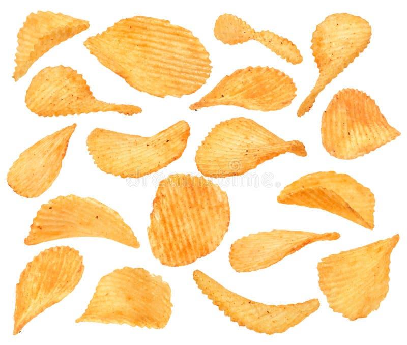 De geribbelde inzameling van de aardappelssnack met peper royalty-vrije stock afbeeldingen