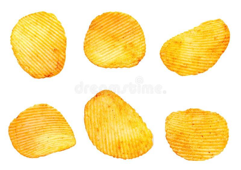 De geribbelde reeks van de aardappelssnack stock foto