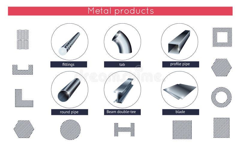De gerolde vector geplaatste pictogrammen van metaalproducten royalty-vrije illustratie