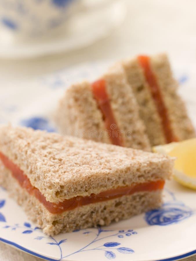 De gerookte Sandwich van de Zalm op Bruin Brood royalty-vrije stock afbeeldingen