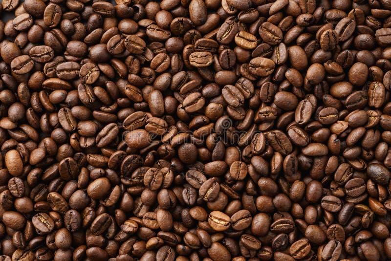 De geroosterde achtergrond van koffiebonen Hoogste mening Ruimte voor tekst stock foto's