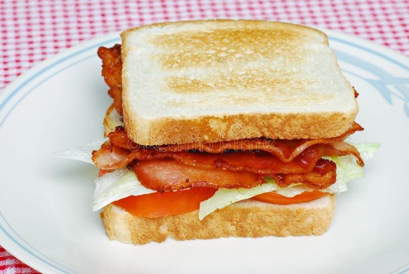 De geroosterde dubbeldekker van de Tomaat van de Sla van het Bacon stock foto