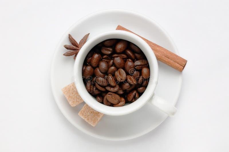 De geroosterde koffiebonen in een koffiekop verfraaiden kruiden en suiker tegen witte achtergrond, hoogste mening met ruimte voor stock foto's