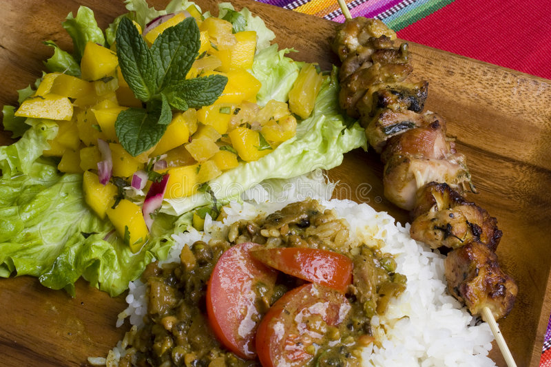 De geroosterde maaltijd van de Kip kebab royalty-vrije stock foto