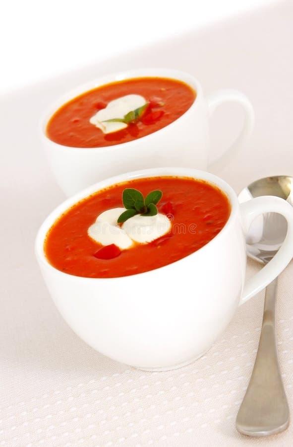 De geroosterde Soep van de Tomaat stock foto's