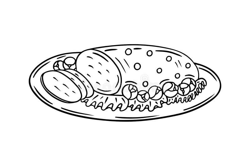 De geroosterde tekening van het vleesoverzicht, het diner feestelijke maaltijd van de Kerstmisfamilie royalty-vrije illustratie
