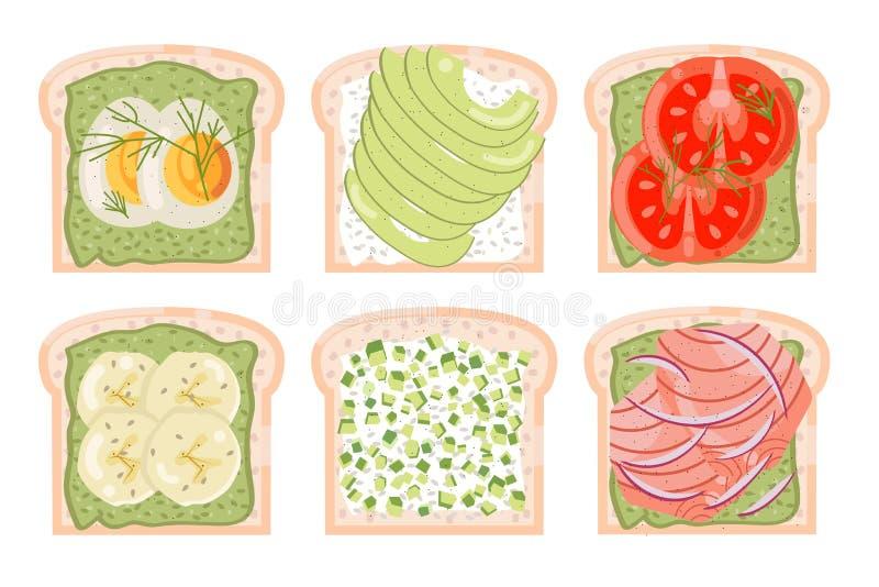 De geroosterde van de het visseëibanaan van de broodavocado rode van het de tomaten groene gezonde voedsel van het het dieet vlak royalty-vrije illustratie