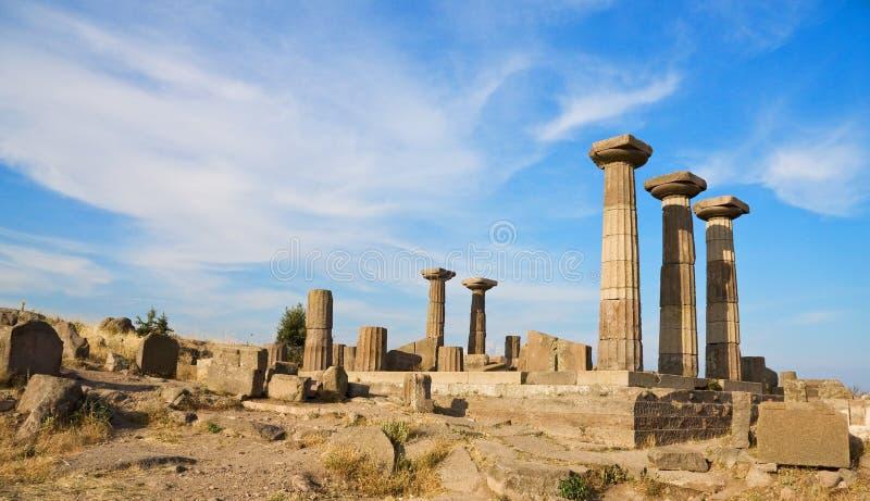 De geruïneerde tempel van Athena dichtbij Assos royalty-vrije stock foto