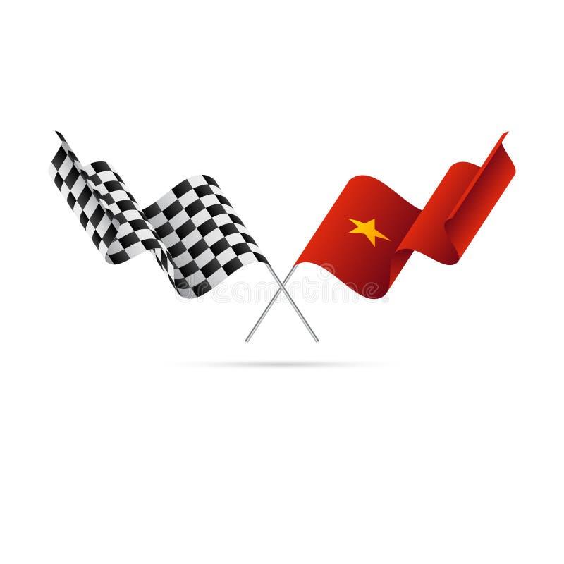 De geruite en vlaggen van Vietnam Vector illustratie royalty-vrije illustratie