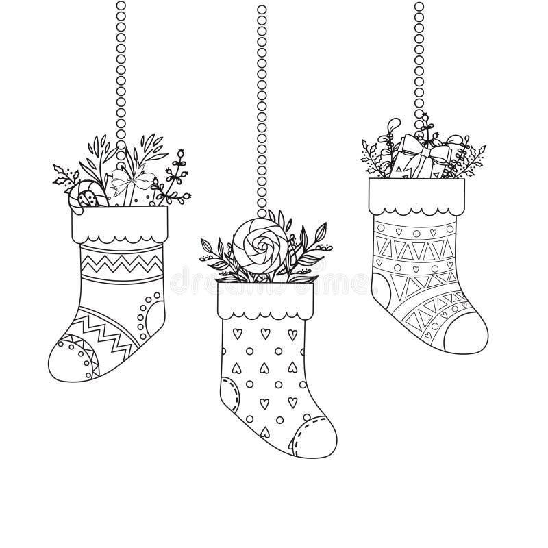 De geschetste sokken van beeldverhaalkerstmis met stelt voor vector illustratie
