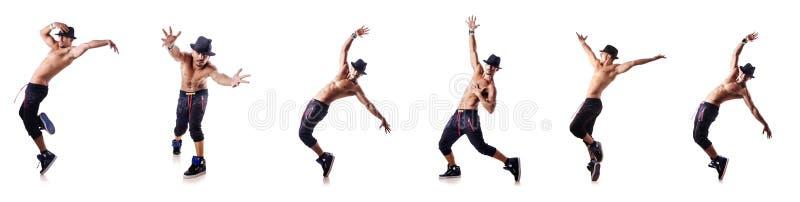 De gescheurde die danser op het wit wordt geïsoleerd stock afbeeldingen