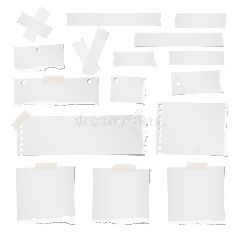 De gescheurde lege nota, het notitieboekje, de kleefstof, het afplakbanddocument voor tekst of het bericht plakten op witte achte stock illustratie