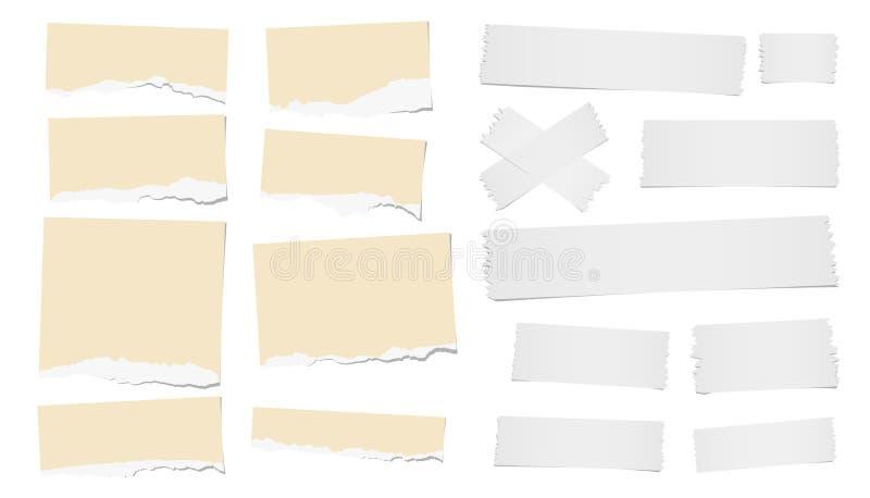 De gescheurde lege nota, notitieboekjedocument de stroken, de zelfklevende, kleverige band voor tekst of het bericht plakten op w vector illustratie