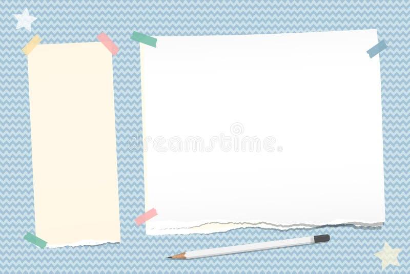 De gescheurde nota, notitieboekje, voorbeeldenboekdocument plakte met kleverige band, wit potlood, sterren op blauwe golvende ach stock illustratie