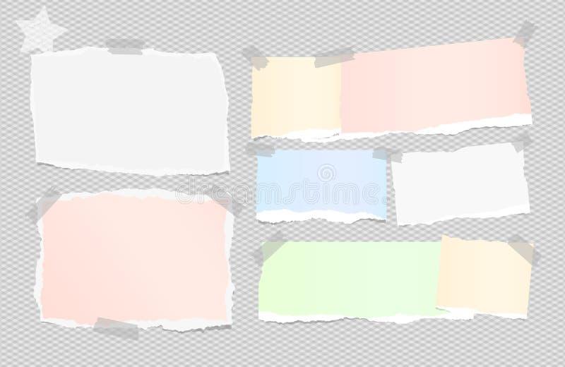 De gescheurde witte, kleurrijke nota, notitieboekje, voorbeeldenboekdocument bladen plakte met kleverige band op geregelde grijze stock illustratie