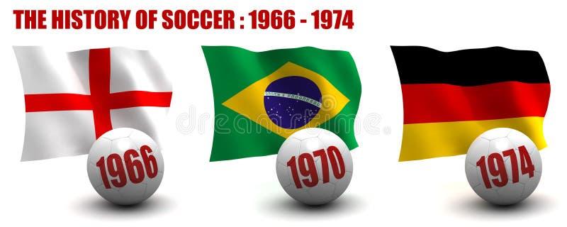 De geschiedenis van Voetbal 1966-1974 stock illustratie
