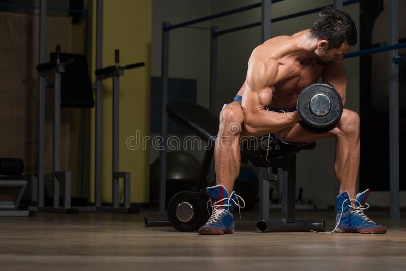 De geschikte Bicepsen van Atletendoing exercise for royalty-vrije stock afbeeldingen