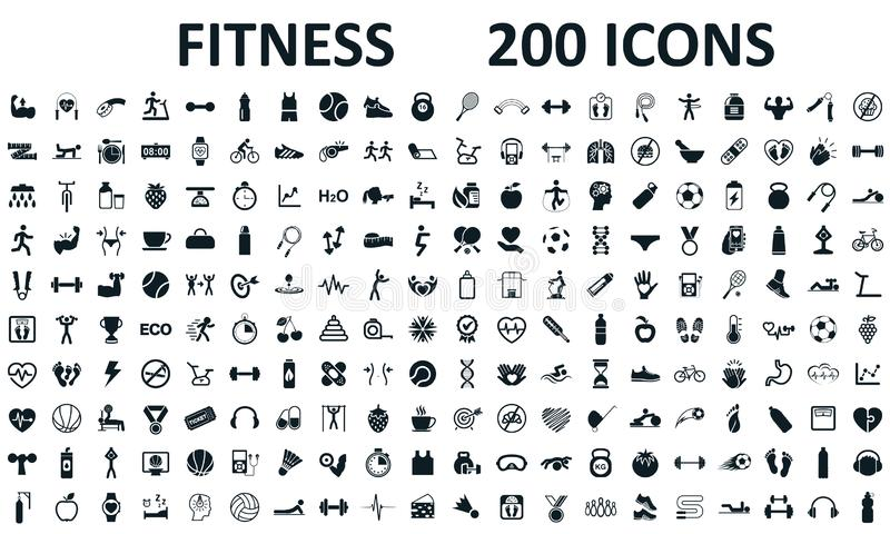 De geschiktheidspictogrammen plaatsen geïsoleerde 200 Fitness oefening, sporttraining opleidingsillustratie Karakters die de cijf vector illustratie