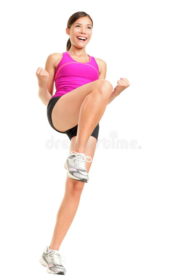 De geschiktheidsvrouw van de aerobics stock afbeeldingen