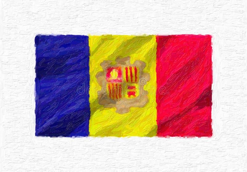 De geschilderde golvende nationale vlag van Andorra hand, geïsoleerde olieverf stock illustratie