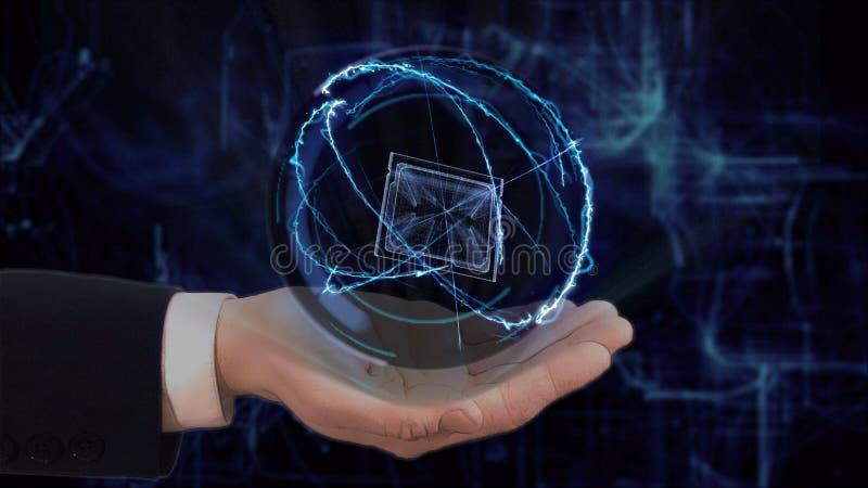 De geschilderde hand toont conceptenhologram 3d cpu op zijn hand stock afbeelding