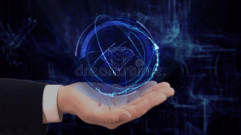 De geschilderde hand toont conceptenhologram 3d diamant op zijn hand stock afbeeldingen