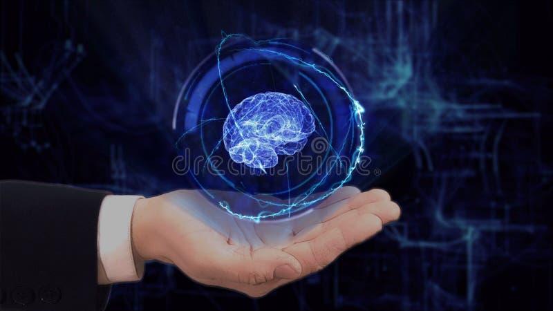 De geschilderde hand toont conceptenhologram 3d hersenen op zijn hand stock fotografie