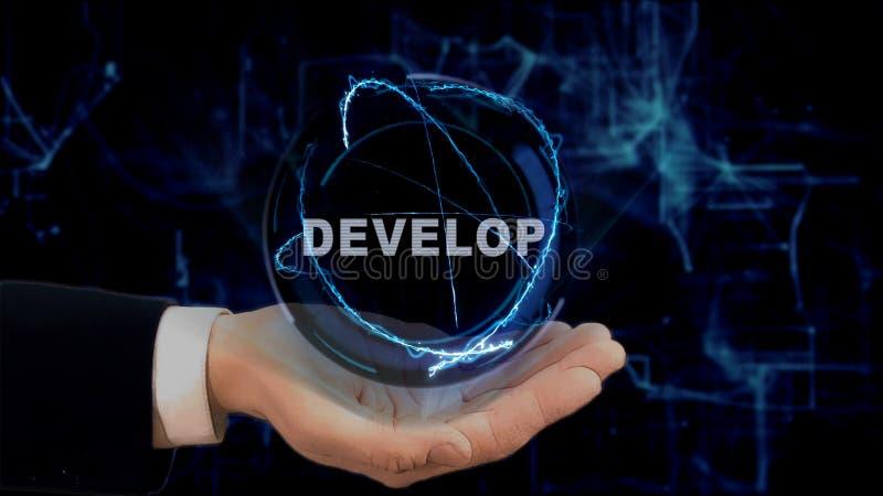 De geschilderde hand toont het conceptenhologram zich op zijn hand ontwikkelt royalty-vrije stock foto
