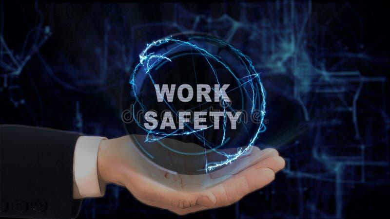 De geschilderde hand toont het Werkveiligheid van het conceptenhologram op zijn hand royalty-vrije stock afbeeldingen