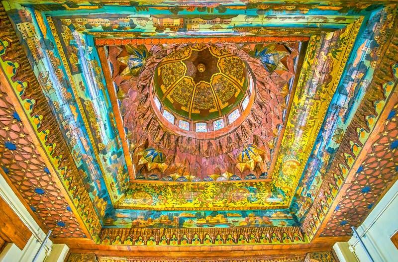 De geschilderde plafonds in Koptisch Museum, Kaïro, Egypte stock fotografie