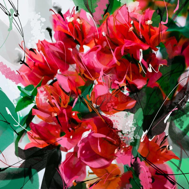 De geschilderde roze en oranje reeks van de de waterverfstijl van bougainvilleabloemen royalty-vrije illustratie