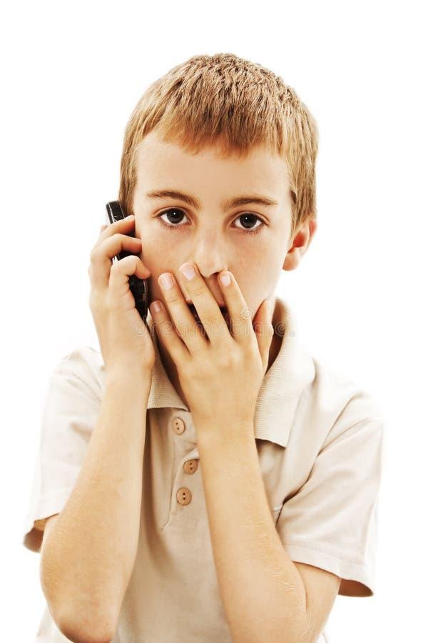 De geschokte Jongen van de Telefoon stock fotografie