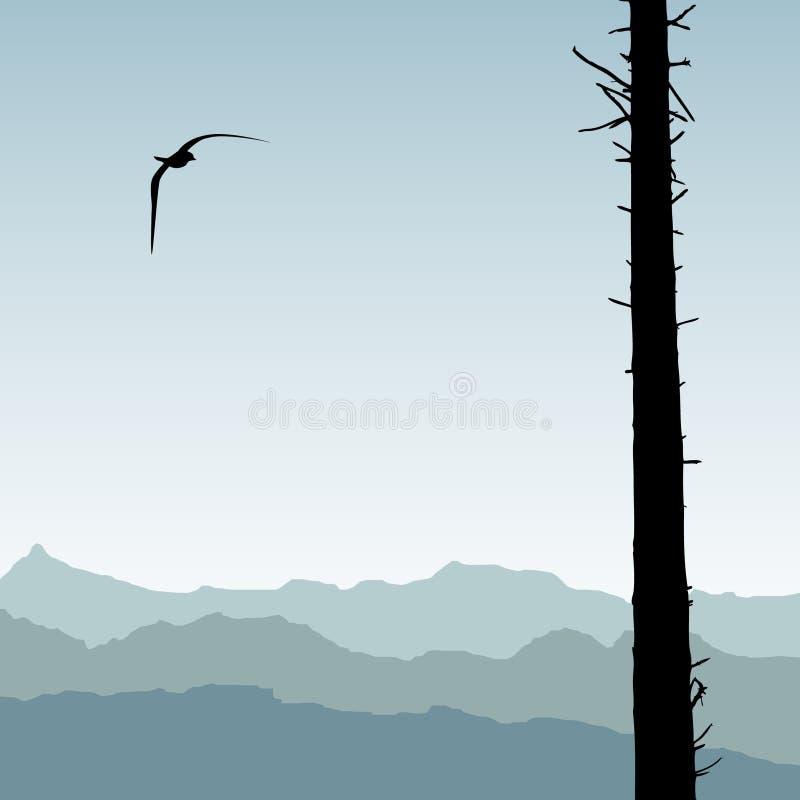 De gesilhouetteerde vogel en clearfelled bos stock illustratie