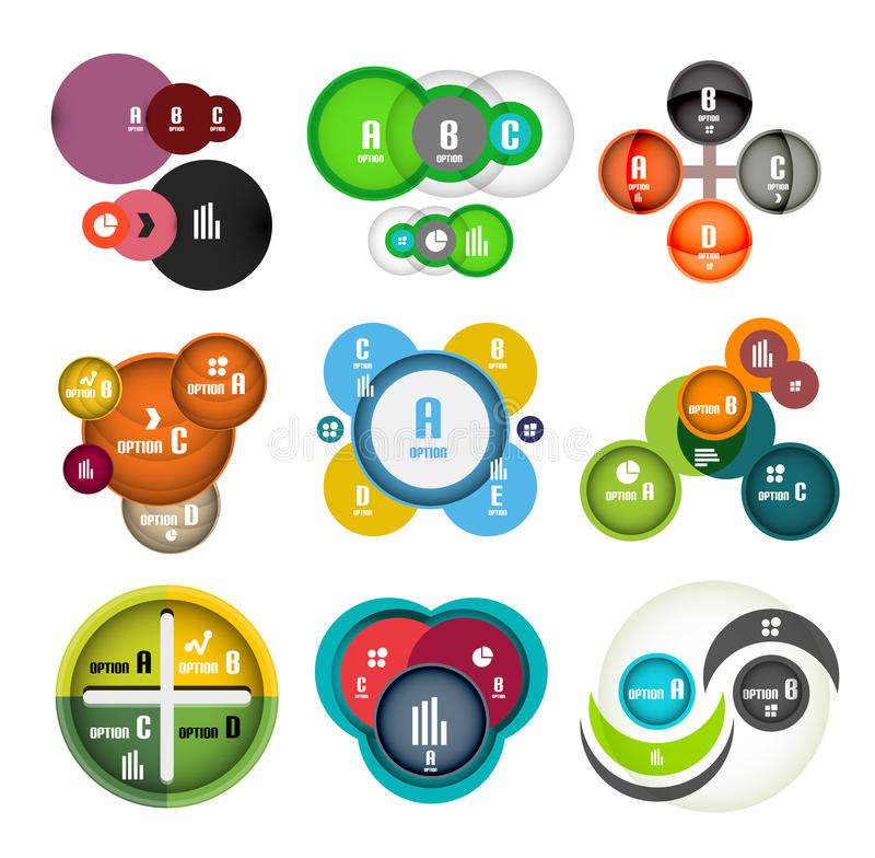 De gestalte gegeven reeks van cirkel borrelt infographic ontwerpmalplaatjes royalty-vrije illustratie