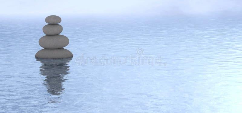 De gestapelde mening van het steen kalme water stock afbeelding