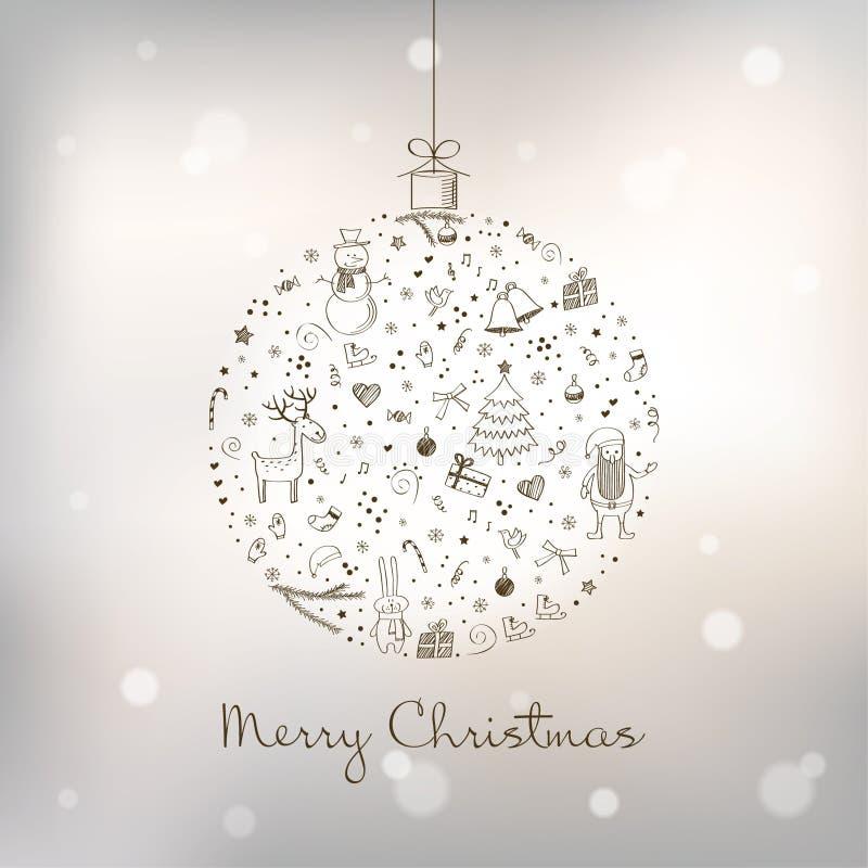 De gestileerde bal van Kerstmis stock illustratie