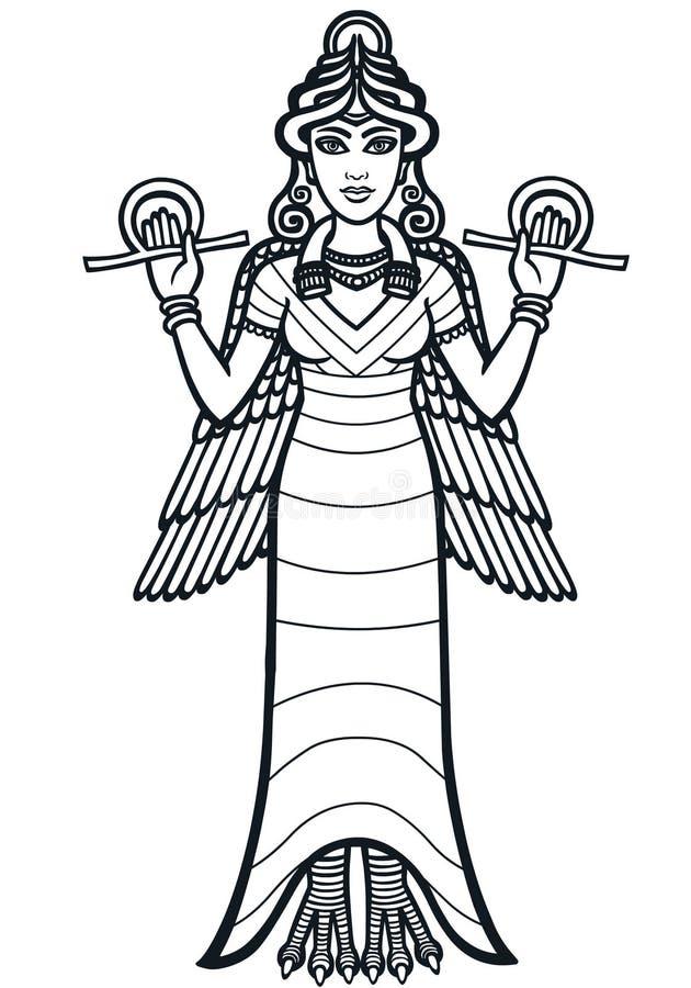 De gestileerde godin Ishtar royalty-vrije illustratie