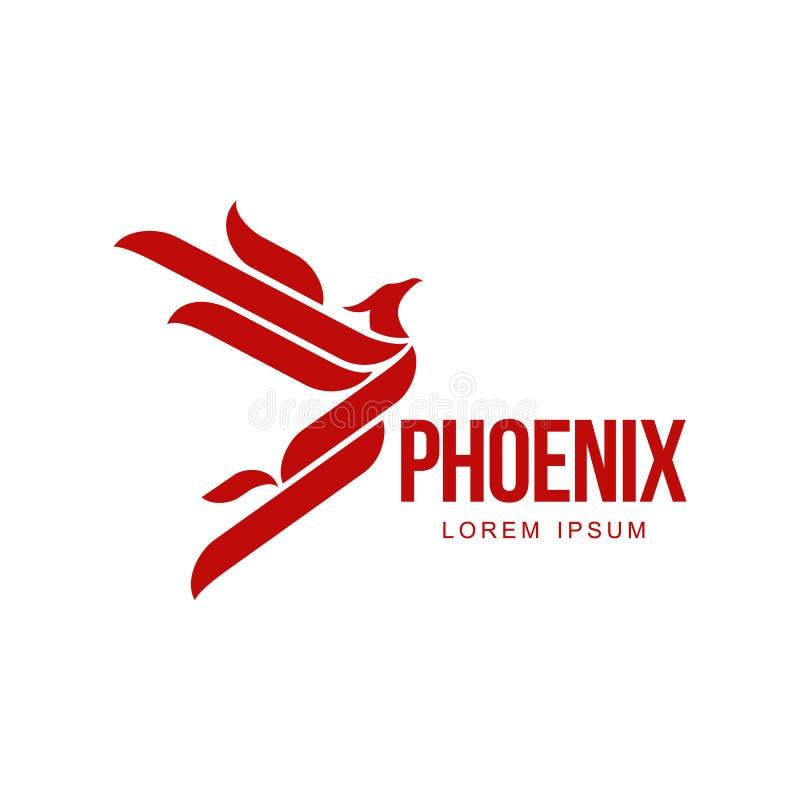 De gestileerde grafische vogel die van Phoenix met het uitgebreide malplaatje van het vleugelsembleem vliegen stock illustratie