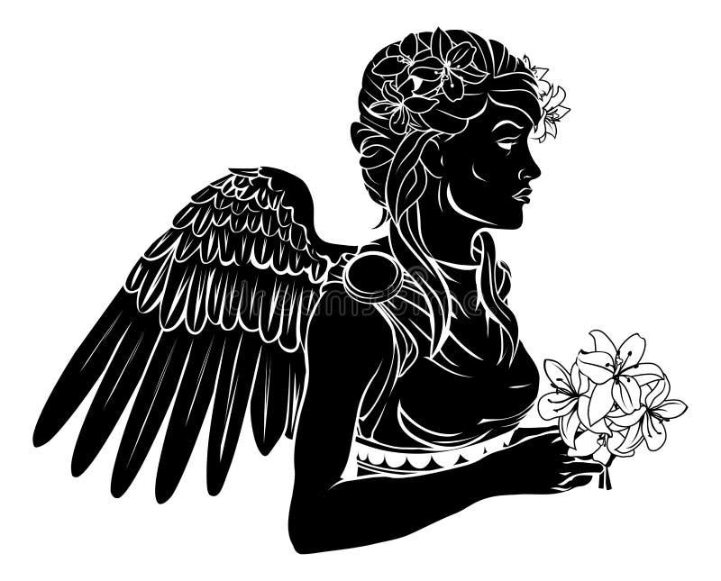 De gestileerde illustratie van de engelenvrouw vector illustratie