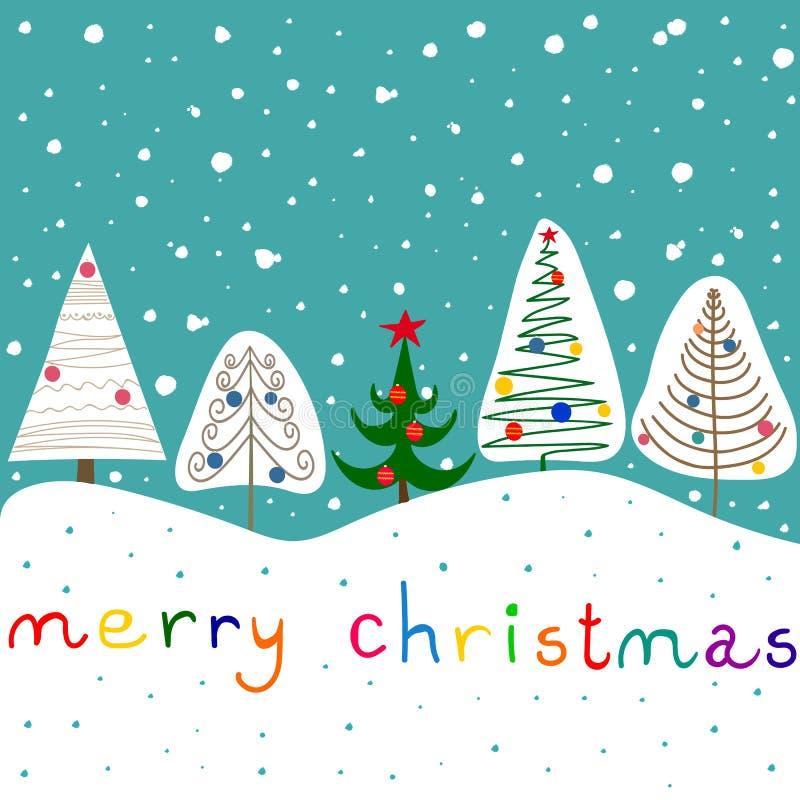 De gestileerde Krabbelsparren siert Snuisterijenster Forest Snowfall Cute Kawaii Kids Blauwe hemelachtergrond Hand het van letter vector illustratie