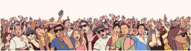 De gestileerde menigte van het illustratiefestival bij levend overleg die en pret partying hebben royalty-vrije illustratie