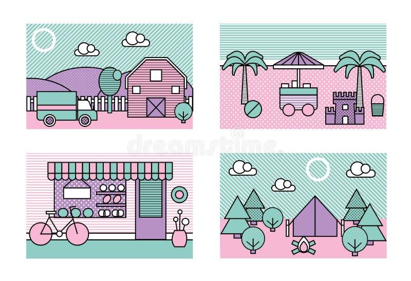 De gestileerde moderne minimalistic vectorstad plaatst illustraties Landbouwbedrijf, strand, bakkerijwinkel, het kamperen stock illustratie