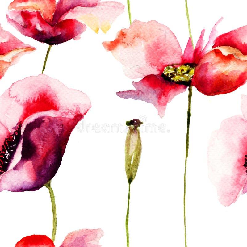 De gestileerde Papaver bloeit illustratie vector illustratie