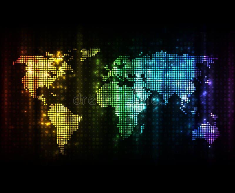 De gestippelde Kaart van de Wereld vector illustratie