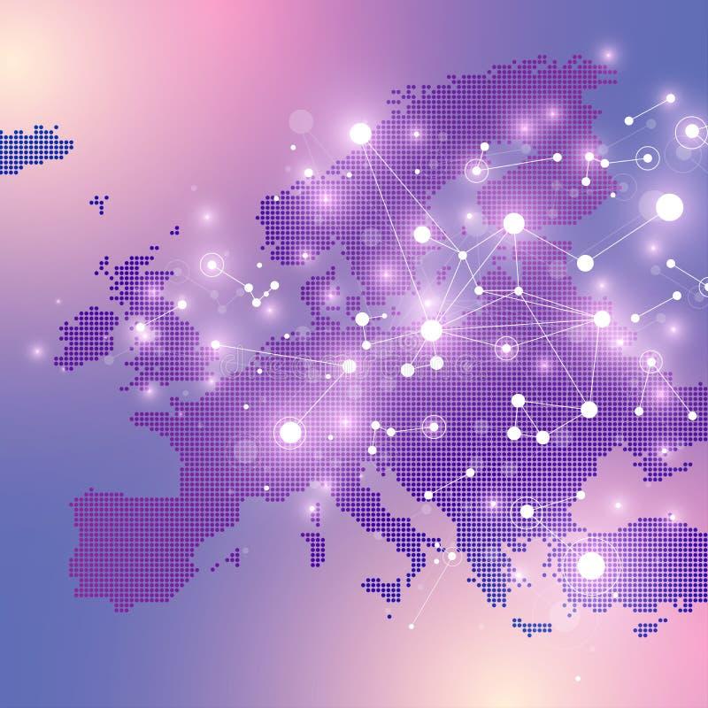 De gestippelde Kaart van Europa Geometrische grafische mededeling als achtergrond Grote gegevens complex met samenstellingen Digi royalty-vrije illustratie