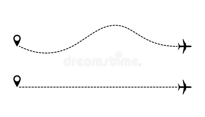 De gestippelde lijnen van de vliegtuigenroute royalty-vrije illustratie