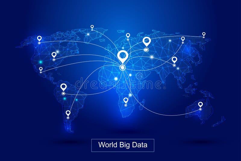 De gestippelde lijnen vormen de wereldkaart, GPS-vormt het plaatsen de de technologie vectorachtergrond van wereld` s grote gegev royalty-vrije illustratie