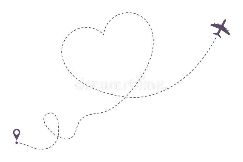 De gestippelde lijnweg van het liefdevliegtuig De route van het luchtvliegtuig in hartvorm, hearted vliegtuigenmanier Vector vector illustratie